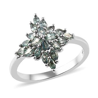 Cluster Sterling Silver Platinum Plated Ring Vrouwen Alexandrite , 1 Ct TJC