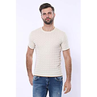 Cream patterned tricot knitted t-shirt