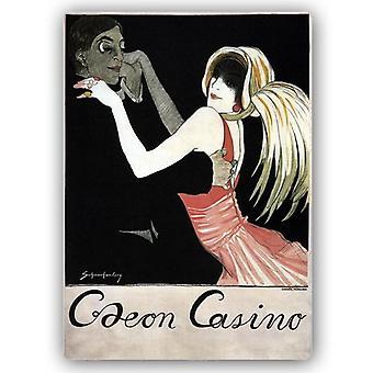 Odeon Casino Werbung Vintage Poster - Metall-Druck