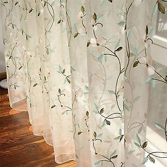 Floral Embroidered Sheer Tulle Curtains - Girls Room Jacquard Pastoral Window Curtain