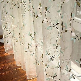 الأزهار المطرزة شير تول ستائر - الفتيات غرفة جاكار ستار نافذة الرعوية
