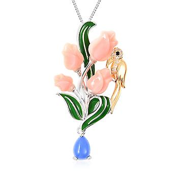 Mother of Pink Pearl Flower Pendant Necklace Silver Blue Jade, White Zircon TJC