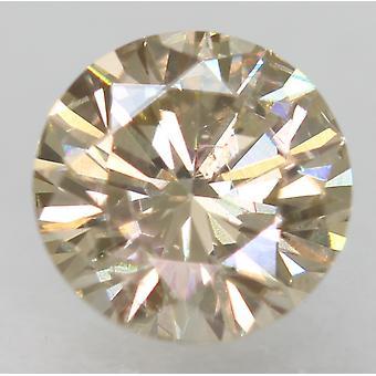 Cert 0.66 Ct Light Br Giallo VS1 Rotondo Brillante Diamante Naturale Migliorato 5.6mm