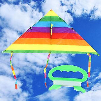 Colorful Rainbow Design, Flying Stunt Kite With Long Tail And Control Bar