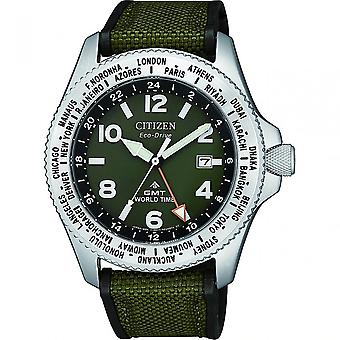 Citizen Watches Bj7100-23x Eco-drive Promaster Gmt World Time Military Navy Canvas Watch
