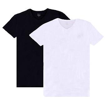 Gant 2 Pack V Hals T-Shirt - schwarz/weiß
