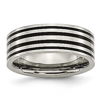 Titanium Flat Band Engravable Black Enamel Flat 8mm Polished Band Ring  Jewelry Gifts for Women - Ring Size: 6 to 13