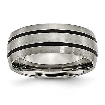 Titan Schlossdrücker emailliert gerillt 8mm Satin Bandring - Ring-Größe: 7 bis 13