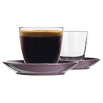 Duralex 12-osainen gigognilasikahvikuppi ja keraaminen lautassentti - violetti - 220ml