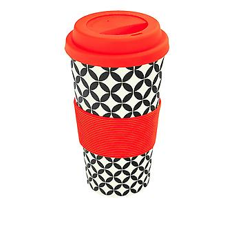 Reusable Coffee Cup - Bamboo Fibre Travel Mug with Silicone Lid, Sleeve - 400ml (14oz) - Circles - Red