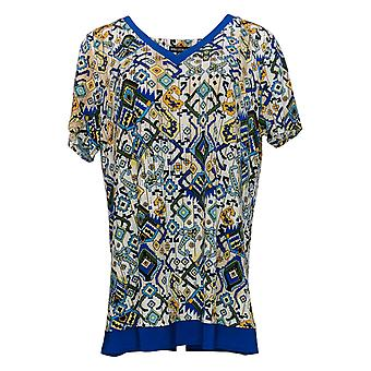 Nina Leonard Women's Plus Top Printed Tunic W/ Solid Trim Blue 652-789