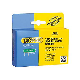Tacwise 140 Stainless Steel Staples 12mm (Pack 2000) 1220