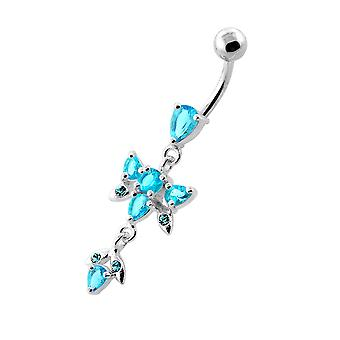 Purple Gemstone Trendy Butterfly Design Sterling Silver Belly Bars Piercing