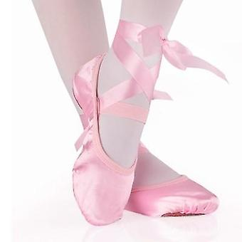 Ballet Dance Silk Shoes Pointe With Ribbon Women Soft & confortable