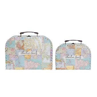 Vintage Map Storage Mini Suitcases Set of 2 Adventure Awaits