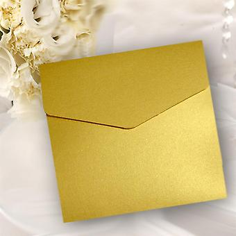 10 Gold Pearlised Square Pocketfold Invitations
