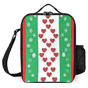 Christmas Snowflakes And Heart Printed Lunch Bags