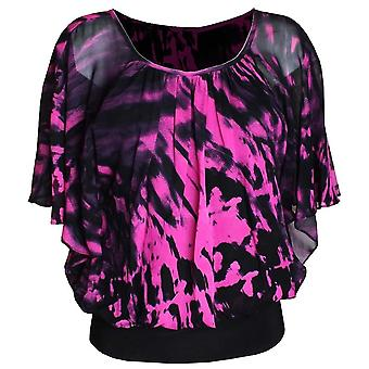 Michaela Louisa Pink Bold Print Chiffon Overlay Top With Flowing Cape Sleeves