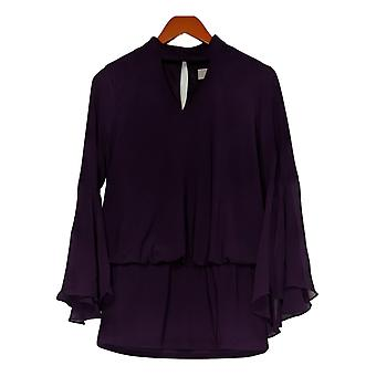 Laurie Felt Women's Top Knit With Woven Bell Sleeves Purple A301676