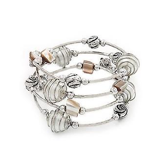 Silver Tone Beaded Multistrand Flex Bracelet - White