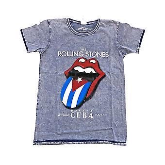 Virallinen Rolling Stones T-paita Havana Cuba Band Logo Denim Blue Burn Out uusi