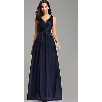 V Neck A-line Sleeveless Floor Length Dress