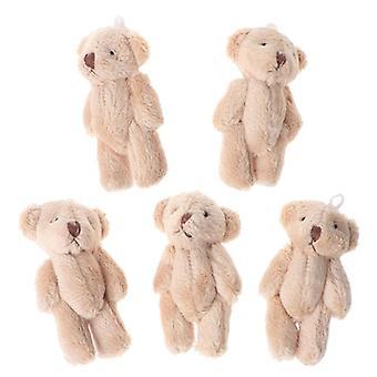 Kawaii Mini Teddybär Plüsch Puppen, Perle samt für Tuch Zubehör 6cm 5pcs 3