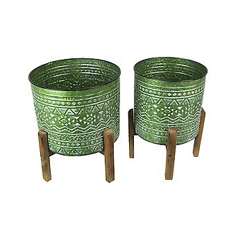 Set of 2 Native Geometric Pattern Stamped Metal Planters With Wooden Stands