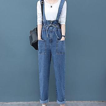Version coréenne de loose summer and autumn high waist overalls overalls mother