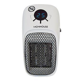 Draagbare mini keramische ventilator elektrische kachel met digitale led display - verstelbare thermostaatregeling 15-45 °c - timer functie tot 12 uur - 400 w