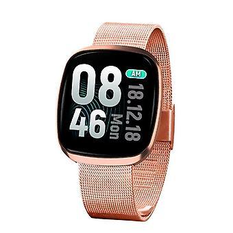 Smart Watch, Fitness Tracker Watch Touch Screen med blodtrykspuls søvnmåler i blodet Ring til SMS SNS Alert Music Control Vandtæt til Unisex kompatibel med Android IPhone - Golden2