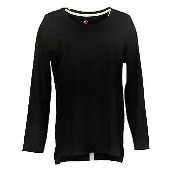 Isaac Mizrahi En direct! Women's Top Essentials Pima Cotton Hi-Low Black A389762