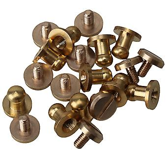 10pcs Solid Brass Chicago Screws 8x5x8mm Leather Craft Round Head Nail Rivets