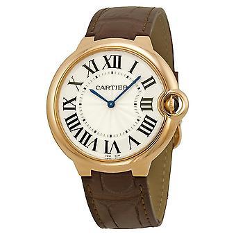 Cartier Ballon Bleu Silver Dial Brown Alligator Leather Men's Watch W6920083