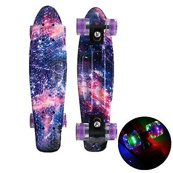 Skate Board Mini Cruiser, Pennyboard, Galaxy Starlight, Longboard, Blinkande