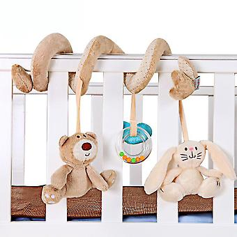 Bear Rabbit Stroller Hanging Toy Cartoon Activity Spiral With Sound Box Bell Bb Device Pram Crib Toy For Baby 0-1