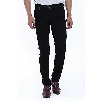 Self patterned black cotton trousers