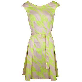 Arggido Lime & Beige Sleeveless Cotton Dress With Belt