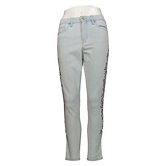 Martha Stewart Petite Jeans de mujer bordado 5 pocket ankle blue