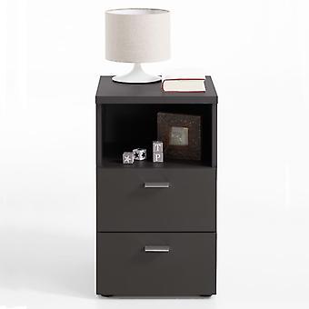 FMD nachtkastje met 2 lades en open plank zwart