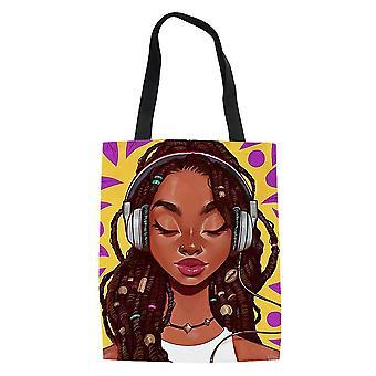 Uusi Afrikkalainen tyttö Naisten ostoskassi Ruokakauppa Tote Käsilaukku ES9232