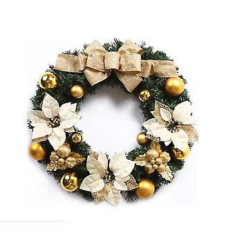 Christmas Wreath Garland Pendant Xmas Pine Leaves Decoration Gold 40cm