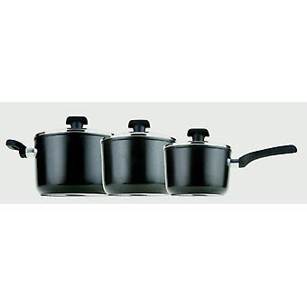 Prestige Duraforge Induction Aluminium Saucepan, Black, Set of 3