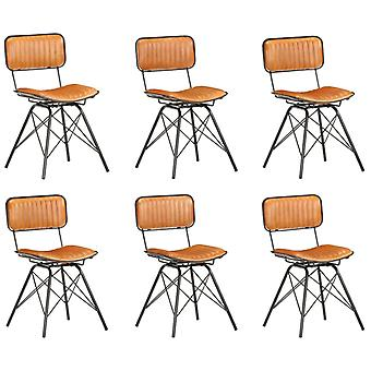 vidaXL Dining Chairs 6 pcs. Black and Brown Genuine Goat Leather