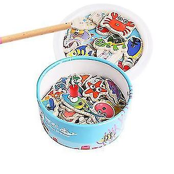 Wooden children's magnetic fishing toy 20 fish