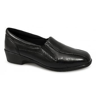 Mod Comfys Loretta Ladies Leather Wedge Loafers Black
