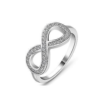 (6) Tyylikäs valkoinen pinnoitettu Zirconia Infinity Promise Ring 9