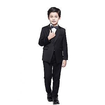 Abiti da ragazzo Slim Fit Abito formale Abito 4piece Teen Black Suit per abito da sposa Set (110cm)