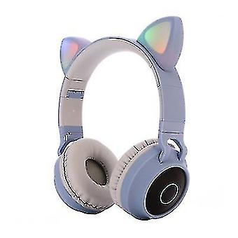 Căști Bluetooth luminoase montate pe cap, căști bluetooth pliabile fără fir pentru urechi de pisică (Gri albastru)