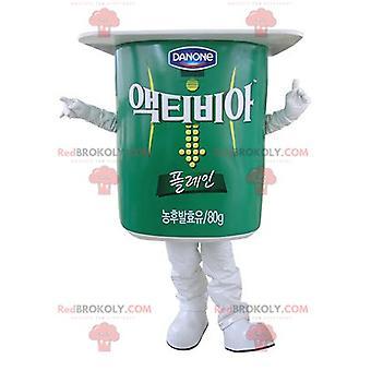 Mascotte REDBROKOLY.COM de pot de yaourt géant vert et blanc